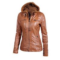 motosiklet kapüşonlu deri ceket toptan satış-Yeni Kadın Faux Deri Ceket Pu Motosiklet Kapüşonlu Şapka Ayrılabilir Rahat Deri Artı Boyutu 5xl Punk Giyim