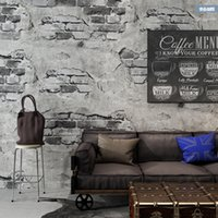 Wholesale house wall posters resale online - Retro Industrial Loft Wall Paper Red Black Grey Yellow Washable Rustic Vintage D Faux Brick Wallpaper Roll Vinyl PVC wall poster
