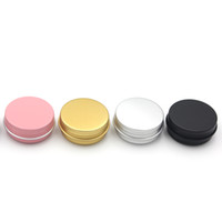 Wholesale lips gold resale online - 15ml g Metal Storage Aluminium Tins Jars Lip Balm Containers Empty Jars Screw Top Tin Cans White Gold Black
