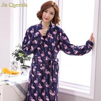 ropa interior de talla grande de alta calidad al por mayor-Flamingo Printing Cotton Robe Womens Plus Size Lingerie Bathrobe Japanese Kimono High Quality 100% Cotton Underwear Women Kimono