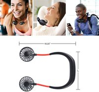 Wholesale outdoor hand fans resale online - DHL Hands free Mini Portable USB Rechargeable Outdoor Sports Lazy Hanging Neck Band Portable Fan