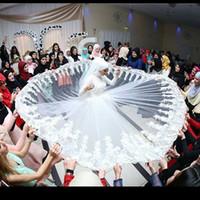islamische blumen großhandel-2020 Vintage muslimischen Langarm Hijab Schleier muslimischen Hochzeitskleid handgefertigte Blumen Perlen Spitze arabische türkische islamische Hochzeitskleider