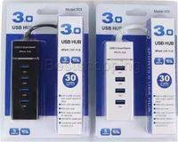 usar hub al por mayor-4 puertos USB HUB USB 3.0 de súper velocidad Adaptador para PC portátil ratones de ordenador teclado unidades externas Utilice un concentrador USB