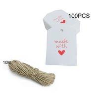 ingrosso amanti dell'amore-100Pcs Grazie / Made with Love Tag Borsa Carte regalo per matrimoni Insegnanti Festa della mamma Biglietti d'invito Invito Evento