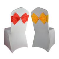 hebillas de arco al por mayor-Ceremonia Party Decor Pink / Blue / Purple Stretch Spandex Bow Tie Chair Sash Band con hebilla de diamante para la boda