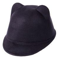 şeytan kulakları şapka toptan satış-Kış Moda Çocuk Kız Şeytan Şapka Sevimli Kitty Kedi Kulaklar Yün Derby Bowler Cap Sıcak