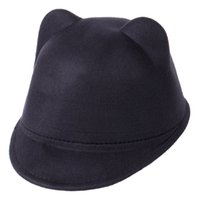 chapéu das orelhas do diabo venda por atacado-Moda inverno Crianças Meninas Devil Hat Bonito Kitty Cat Orelhas De Lã Derby Bowler Cap Quente