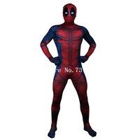 deadpool kostümü zentai toptan satış-Giyim Ekipmanları Deadpool Kostüm Yetişkin Man Cosplay Deadpool Kostümler Wade Wilson Spandex Likra Naylon Zentai bodysuit Hallowee