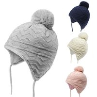 Wholesale baby earmuffs hat for sale - Group buy Children s earmuffs new cotton plus velvet baby knit hat winter baby warm wool hat autumn and winter cap