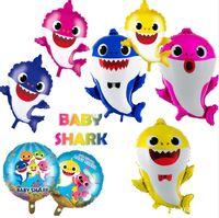 dibujos animados de globos de papel de aluminio al por mayor-Baby Shark Foil Globos de Helio Dibujos Animados Inflables de Aluminio Globo Niños Niños Tema Fiesta de Cumpleaños Suministros de Decoración Regalos A52006