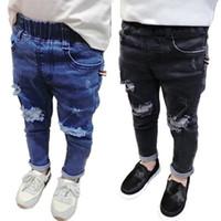 ingrosso jeans per bambini ragazzi-Nuovi jeans strappati ragazzi e ragazze jeans pantaloni skinny primavera autunno bambini jeans denim 8jz019 Y19051504