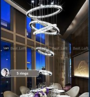Wholesale 25 light staircase chandelier for sale - new circle ring Modern minimalist penthouse floor living room led K9 crystal Chandeliers creative villa long circular staircase lights