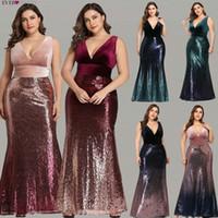 schwarzes kleid asymmetrischer tüll großhandel-Blush Pink Mermaid Prom Kleider Ever Pretty EZ07767 Sexy V-Ausschnitt Ärmellos Pailletten Burgund Lange Party Kleider Vestidos Prom 2019