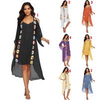 bluz elleri toptan satış-El Tığ Kapak-Ups 7 Renkler Plaj Smock Yaz Günlük Elbiseler Kapalı Omuz Düzensiz Elbiseler Bluzlar OOA6986 Tops
