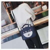 Wholesale cat embroidery bags resale online - Varied Cats Women Tote Bags Fashion Casual Crossbody Shoulder Bags Cute Embroidery Cats Big Flap Large Capacity PU Handbags
