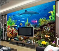 Wholesale shark room decor for sale - Group buy WDBH d photo wallpaper custom mural Ocean coral shark dolphins tv background painting Home decor living room wallpaper for walls d