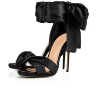 sandalias de tacón alto con estilo al por mayor-Sandalias de verano para mujer Tela Santin Tacones altos Zapatos de vestir para el banquete de bodas por la noche 2019 Elegante, elegante, dulce, con lazo rojo, noche atada, zapatos