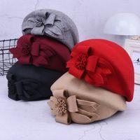 Wholesale felt pillbox hat resale online - New Flower Beret Hat Women Wine Red Grey Felt Pillbox Women Hat Winter Fedora Cap European Ladies Wool Fedora Spring Autumn