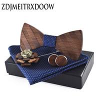 ingrosso erba verde scuro-Cravatta tascabile a forma di papillon in legno per uomo