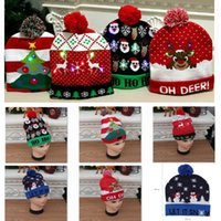 Wholesale led lighted hats resale online - Led Christmas Knitted Hat Xmas Light up Beanies Hats Outdoor Light Pompon Ball Ski Cap For Santa Snowman Reindeer Christmas Tree HH9