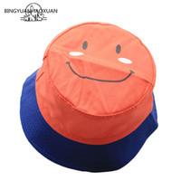 Wholesale korean girl style hat resale online - 2020 Summer Bucket Hat Students Korean Style Versatile Smiling Face Embroidery Boy Girl Bucket Sun Hat Leisure Cute