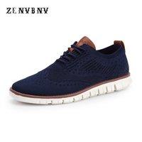 yaz düğün ayakkabıları erkekler toptan satış-ZENVBNV 2018 Yeni Yaz Hava Mesh Nefes Işık Erkekler rahat ayakkabı erkekler İş Örgün Dokuma Oxfords Gelinlik Oyma
