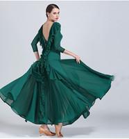 traje moderno amarillo al por mayor-Vestido de baile de salón de baile verde amarillo para adultos Señora Mesh Stitiching Vals moderno Flamenco Baile estándar Disfraces Práctica de danza Desgaste