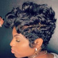 ingrosso black women hot picture-Copricapo per parrucca nera a maniche corte con parrucca riccia nera