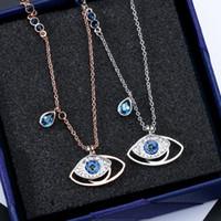 ingrosso oro corta collana-Famosa collana a ciondolo doppio occhi azzurri per donna in oro con ciondoli a forma di zirconi. Feminino Bijuterias