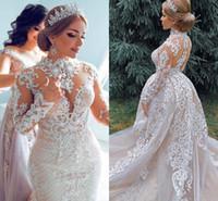 vestido de casamento de luxo de colarinho alto frisado venda por atacado-Dubai árabe luxo sereia vestidos de casamento com saia destacável mangas compridas lace appliqued vestido de noiva gola alta frisado vestidos al3028