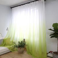 ingrosso tessuto di tulle giallo-Tende Gradiente Colore Stampa Voile Grigio Finestra Tenda Modern Living Room Tende Tulle Sheer Fabrics Rideaux Cortinas