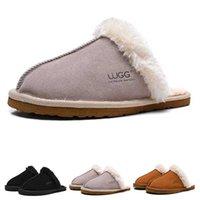 zapatillas grises de hotel al por mayor-Australia invierno zapatillas de diseñador para mujer del deslizador peludo chica de la manera cómoda caliente negro caliente de color rosa tamaño gris de los deportes 5-10
