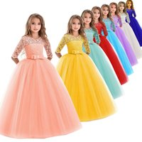 Wholesale wedding colors dresses resale online - Girls Gown Princess Dress Colors Lace Mesh Solid Dress Kids Casual Clothes Girls Party Dresses Long Sleeve Wedding Flower Girl Skirt