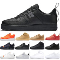 cut shoes al por mayor-nike air force 1 af1 just do it Dunk utilitarios Hombres Mujeres Zapatos Barato Low Cut One 1 Zapatos Todo Blanco Negro 1s Clásico AF High Knit Skateboard Sports Shoes 36-45