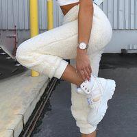 pantalones deportivos urbanos al por mayor-Felpa Fleece basculadores de las mujeres Pantalones otoño invierno 2019 nuevo de la manera Streetwear urbano Pantalones de talle alto pantalón