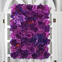 Wholesale flower wall panels resale online - Hot Sale Upscale Wedding Backdrop Centerpieces Flower Panel Rose Hydrangea Flower Wall Party Decorations Supplies