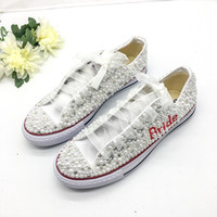 Wholesale mary janes flats for sale - Group buy Country Style Wedding Shoes Women Handmade Crystals Pearls Sneakers Bridal flat Shoes Canvas plimsoll bridesmaid Sneaker shoes size