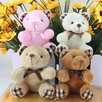 Wholesale present gift doll for sale - Group buy 4 Colors cm Kids Plush pendant diy bow tie Bear pendant Lovers Stuffed Animals figure birthday present Plush dolls gift toys