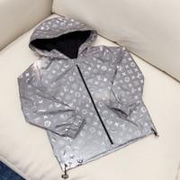 çocuklar için rüzgar koruyucu toptan satış-Ücretsiz kargo Çocuk Erkek Deri Ceket 2019 Beyzbol Hoodies Ceket Yansıtıcı Gümüş Uzun Kollu Giyim Rüzgarlık