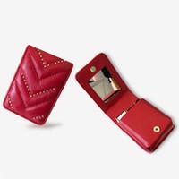 Wholesale ladies handbag mirrors resale online - New Women Genuine Leather Lipstick Makeup Bag V Wave Pattern Ladies Portable Mirror Cosmetic Case Lambskin Designer Make Up handbag