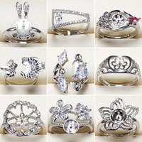 mücevher ayarları yüzük toptan satış-Toptan Takı DIY Inci Yüzük Kadınlar için 925 Gümüş Yüzük Ayarları Zirkon Yüzük Kız Yüzük Güzel Takı Ayarlanabilir Boyutu DIY Hediye