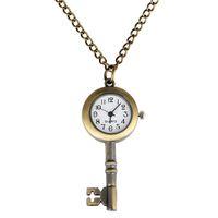 Wholesale acrylic key tags resale online - Steampunk Retro Creative Key Design Analog Quartz Pocket Watch Men Women Clock with Necklace Chain Timepiece Gift