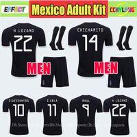camisas de futebol kit completo venda por atacado-2019 México Preto Kit Copa Do Ouro de Futebol Jerseys Adulto Homens Conjuntos Completos CHICHARITO Camisetas de futbol H. OZÔNIO DOS SANTOS RAUL Camisas de Futebol