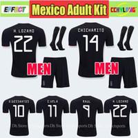 c6fe33b588546 2019 México Negro Kit Copa Oro Camisetas de fútbol Adultos Hombres Juegos  completos CHICHARITO Camisetas de futbol H.LOZANO DOS SANTOS RAUL Camisetas  de ...