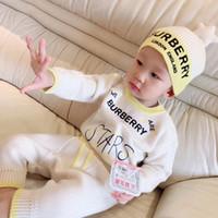 tulum uzun kollu kış toptan satış-4 adet Bebek Örme Kazak Erkek Bebek Kız Romper 0-24 Ay yıldız Şapka Ile Pamuk Uzun Kollu Sonbahar Kış Bebek Yumuşak Tulum