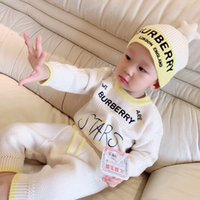 Wholesale knit baby hat neck resale online - 4 Baby Knitted Sweater Baby Boy Girl Romper Months With star Hat Cotton Long Sleeve Autumn Winter Infant Soft Jumpsuit