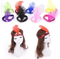 Wholesale indian women costume online - Feather Headband Sequin Costume Hairband Headpiece Women Ladies Party Jewelry Rhinestone Indian Hairband Hair Accessories LJJK1323
