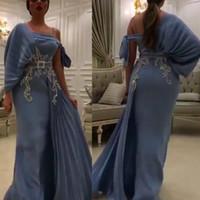 impresionantes vestidos de noche faja al por mayor-Impresionantes sirena de un hombro vestidos de noche Apliques de encaje plisado con los marcos árabe Dubai vestidos de noche más el tamaño de vestido de fiesta