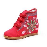 ingrosso cunei neri rossi per le scarpe da ginnastica-Size34-41 Cina Ricamato Stile Hidden cuneo Scarpe Sneakers alte Women della tela strass scarpa da tennis Rosso Nero Bianco Sneakers