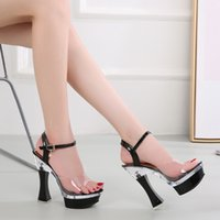 Wholesale ladies black dress sandals for sale - Group buy 14cm Square Heel Platform Sandals Women Summer Sexy Transparent High Heels Crystal Shoes Clear Heel Sandals Ladies Shoes